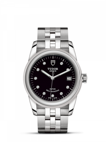 Tudor M55000-0008 : Glamour Date 36 Stainless Steel / Black-Diamond / Bracelet