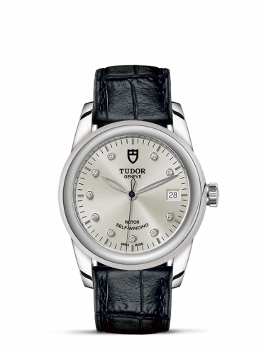 Tudor M55000-0076 : Glamour Date 36 Stainless Steel / Silver-Diamond / Strap