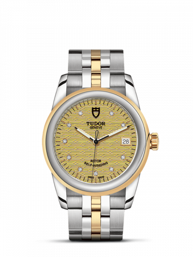 Tudor M55003-0004 : Glamour Date 36 Stainless Steel / Yellow Gold / Jacquard Champagne-Diamond / Bracelet
