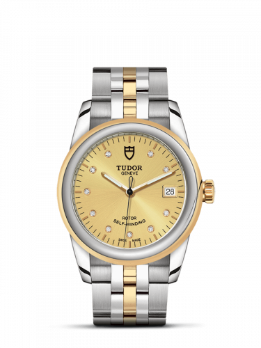M55003-0006 : Tudor Glamour Date 36 Stainless Steel / Yellow Gold / Champagne-Diamond / Bracelet