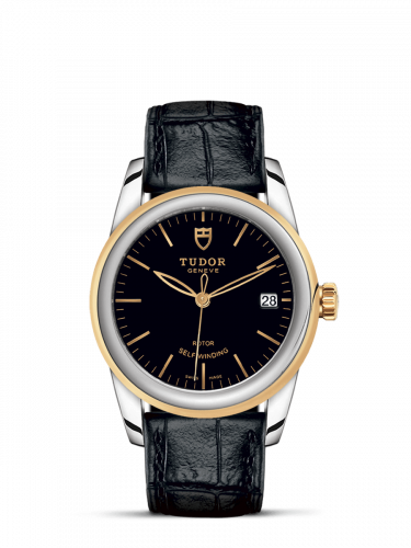 Tudor M55003-0029 : Glamour Date 36 Stainless Steel / Yellow Gold / Black / Strap