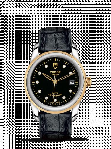 Tudor M55003-0037 : Glamour Date 36 Stainless Steel / Yellow Gold / Black-Diamond / Strap