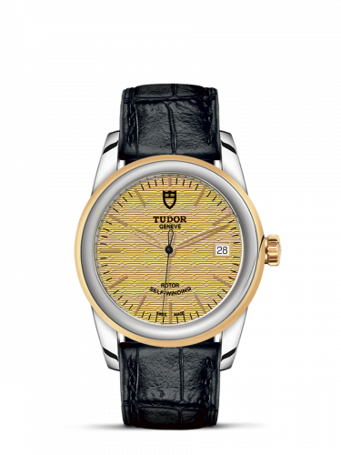 Tudor M55003-0060 : Glamour Date 36 Stainless Steel / Yellow Gold / Jacquard Champagne / Strap