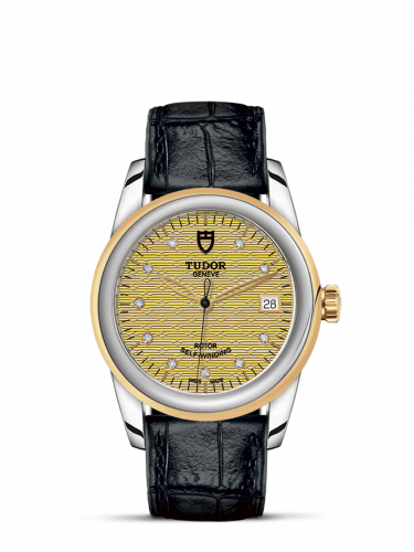 Tudor M55003-0068 : Glamour Date 36 Stainless Steel / Yellow Gold / Jacquard Champagne-Diamond / Strap