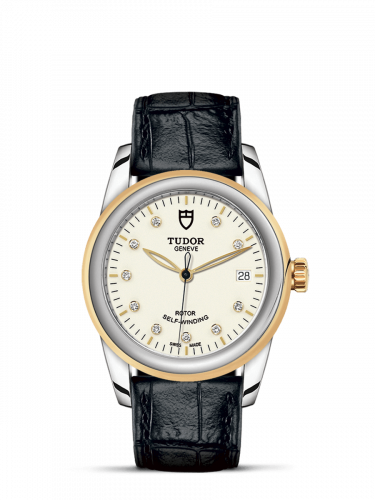 Tudor M55003-0095 : Glamour Date 36 Stainless Steel / Yellow Gold / Opaline-Diamond / Strap