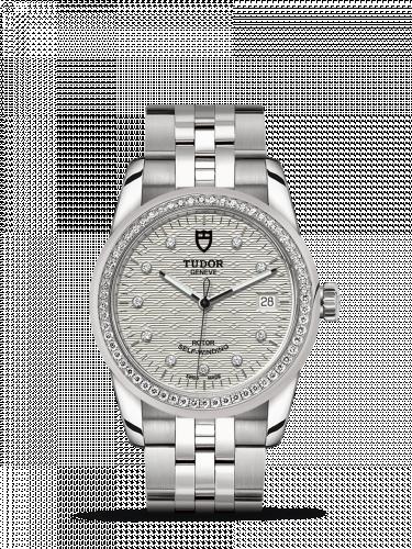 Tudor M55020-0001 : Glamour Date 36 Stainless Steel / Diamond / Jacquard Silver-Diamond / Bracelet