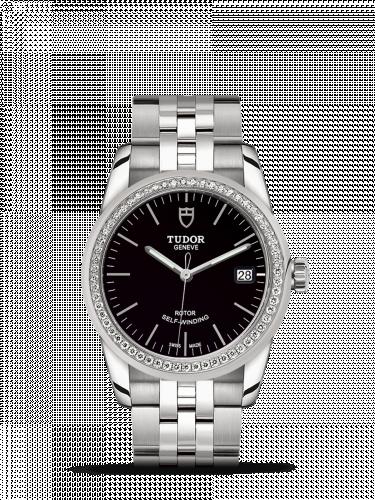 Tudor M55020-0008 : Glamour Date 36 Stainless Steel / Diamond / Black / Bracelet
