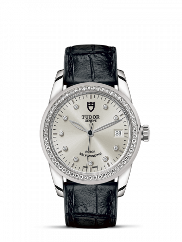 Tudor M55020-0058 : Glamour Date 36 Stainless Steel / Diamond / Silver-Diamond / Strap