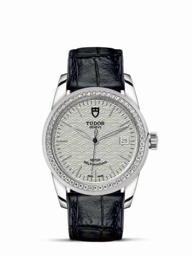 Tudor M55020-0059 : Glamour Date 36 Stainless Steel / Diamond / Jacquard Silver / Strap
