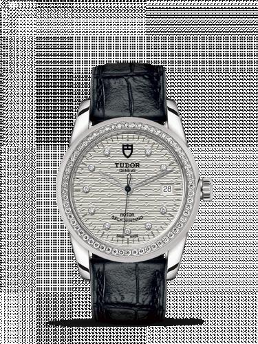 Tudor M55020-0060 : Glamour Date 36 Stainless Steel / Diamond / Jacquard Silver-Diamond / Strap
