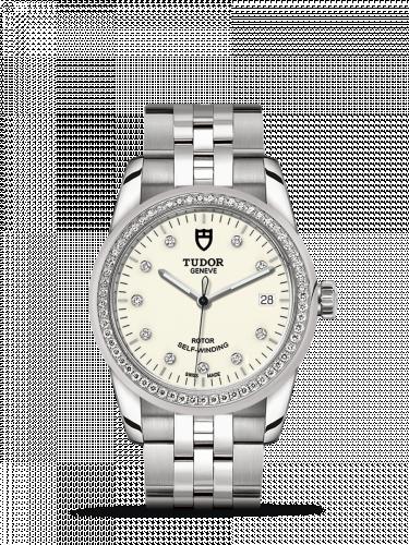Tudor M55020-0096 : Glamour Date 36 Stainless Steel / Diamond / Opaline-Diamond / Bracelet