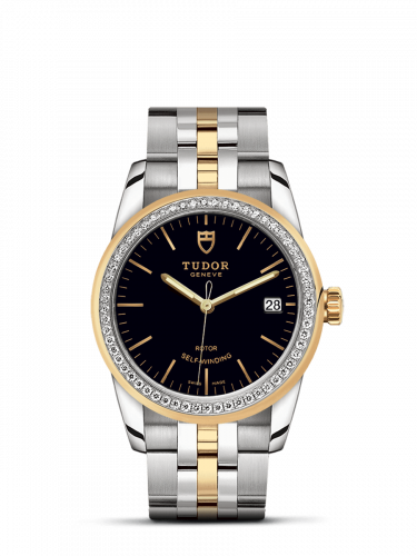 Tudor M55023-0021 : Glamour Date 36 Stainless Steel / Yellow Gold / Diamond / Black / Bracelet