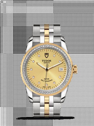 Tudor M55023-0026 : Glamour Date 36 Stainless Steel / Yellow Gold / Diamond / Champagne-Diamond / Bracelet