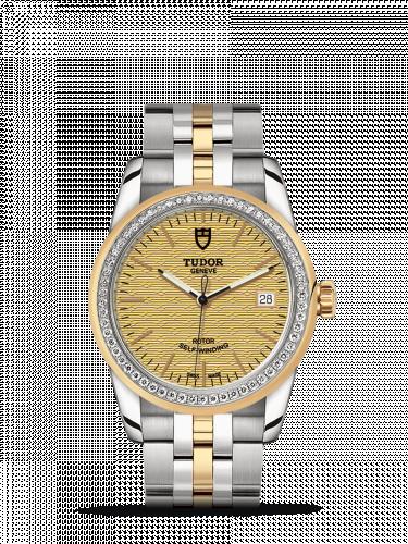 Tudor M55023-0027 : Glamour Date 36 Stainless Steel / Yellow Gold / Diamond / Jacquard Champagne / Bracelet