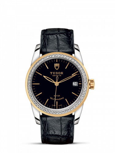 Tudor M55023-0045 : Glamour Date 36 Stainless Steel / Yellow Gold / Diamond / Black / Strap