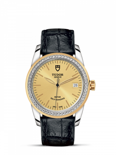 Tudor M55023-0049 : Glamour Date 36 Stainless Steel / Yellow Gold / Diamond / Champagne / Strap