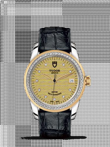 Tudor M55023-0052 : Glamour Date 36 Stainless Steel / Yellow Gold / Diamond / Jacquard Champagne-Diamond / Strap