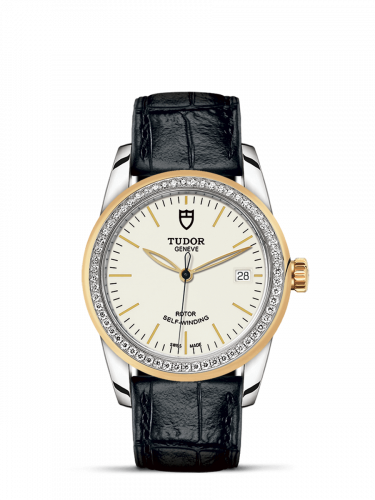 Tudor M55023-0085 : Glamour Date 36 Stainless Steel / Yellow Gold / Diamond / Opaline / Strap