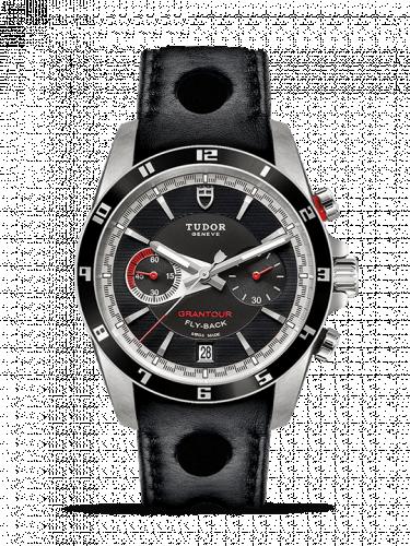 Tudor m20550n-0001 : Grantour Flyback Stainless Steel / Black / Strap