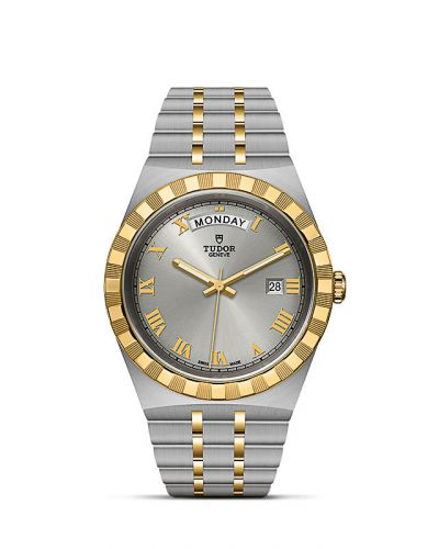 Tudor M28603-0001 : Royal Day-Date 41 Stainless Steel / Yellow Gold / Silver - Roman