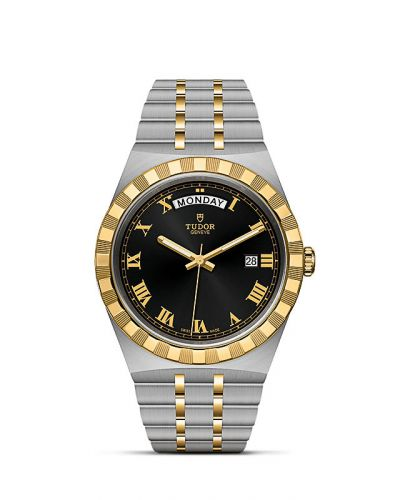 Tudor M28603-0003 : Royal Day-Date 41 Stainless Steel / Yellow Gold / Black - Roman