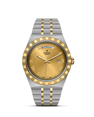 Tudor M28603-0004 : Royal Day-Date 41 Stainless Steel / Yellow Gold / Champagne - Roman