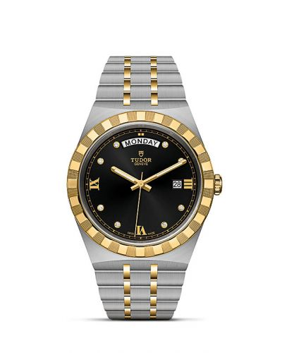 Tudor M28603-0005 : Royal Day-Date 41 Stainless Steel / Yellow Gold / Black - Diamond