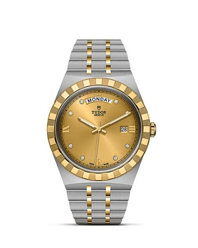 Tudor M28603-0006 : Royal Day-Date 41 Stainless Steel / Yellow Gold / Champagne - Diamond