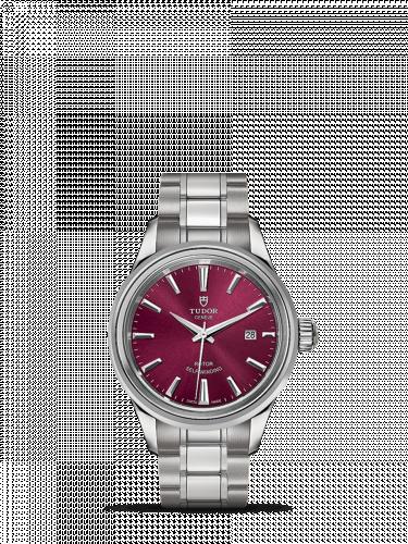 Tudor M12100-0011 : Style 28 Stainless Steel / Burgundy / Bracelet