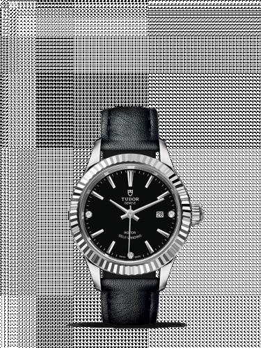 Tudor M12110-0025 : Style 28 Stainless Steel / Fluted / Black-Diamond / Strap