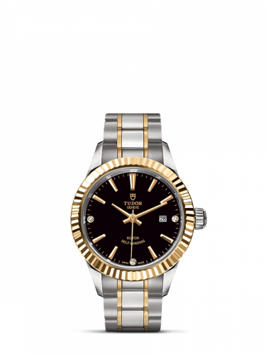 M12113-0011 : Tudor Style 28 Stainless Steel / Yellow Gold / Fluted / Black-Diamond / Bracelet