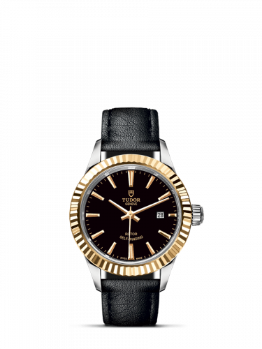 Tudor M12113-0021 : Style 28 Stainless Steel / Yellow Gold / Fluted / Black / Strap