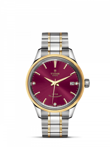 Tudor M12303-0015 : Style 34 Stainless Steel / Yellow Gold / Burgundy-Diamond / Bracelet