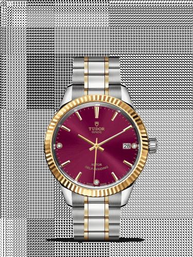 Tudor M12313-0015 : Style 34 Stainless Steel / Yellow Gold / Fluted / Burgundy-Diamond / Bracelet