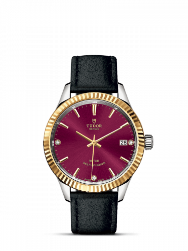 Tudor M12313-0024 : Style 34 Stainless Steel / Yellow Gold / Fluted / Burgundy-Diamond / Strap