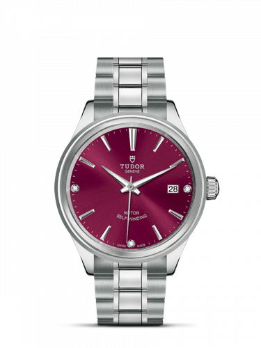 Tudor M12500-0015 : Style 38 Stainless Steel / Burgundy-Diamond / Bracelet