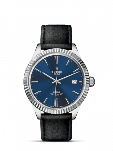 Tudor M12510-0027 : Style 38 Stainless Steel / Fluted / Blue / Strap