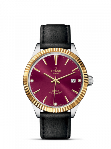 Tudor M12513-0024 : Style 38 Stainless Steel / Yellow Gold / Fluted / Burgundy-Diamond / Strap