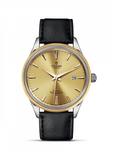 M12703-0007 : Tudor Style 41 Stainless Steel / Yellow Gold / Champagne / Strap
