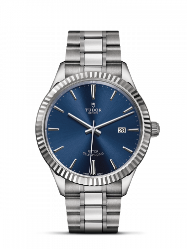 M12710-0013 : Tudor Style 41 Stainless Steel / Fluted / Blue / Bracelet