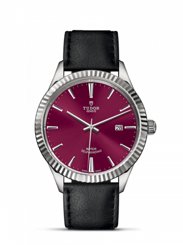 Tudor M12710-0028 : Style 41 Stainless Steel / Fluted / Burgundy / Strap