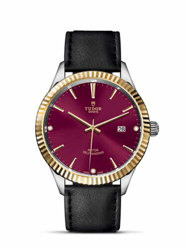 Tudor M12713-0024 : Style 41 Stainless Steel / Yellow Gold / Fluted / Burgundy-Diamond / Strap