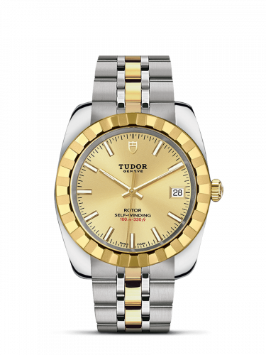 M21013-0002 : Tudor Classic 38 Stainless Steel / Yellow Gold / Fluted / Champagne / Bracelet