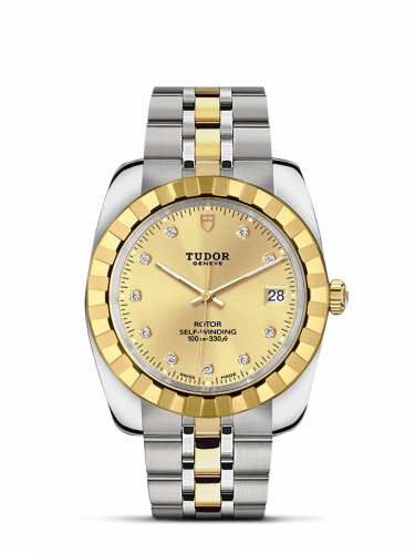 Tudor M21013-0007 : Classic 38 Stainless Steel / Yellow Gold / Fluted / Champagne-Diamond / Bracelet