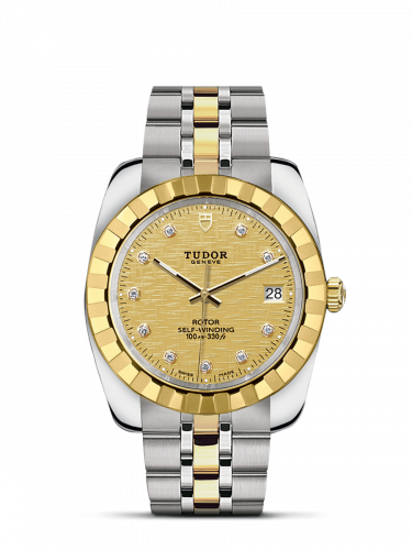 Tudor M21013-0010 : Classic 38 Stainless Steel / Yellow Gold / Fluted / Champagne-Diamond / Bracelet
