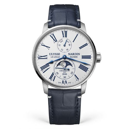 Ulysse Nardin 1193-310LE-0A-175/1A : Marine Torpilleur Moonphase Stainless Steel / White / Alligator