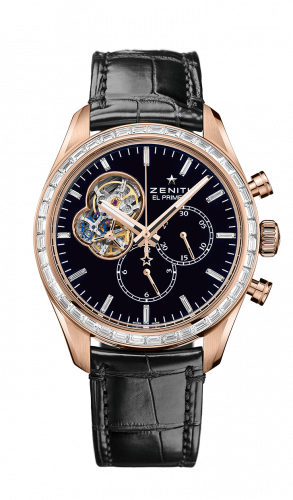 Zenith 22.2080.4061/21.C496 : El Primero Chronomaster Open Rose Gold / Diamond / Black / Alligator