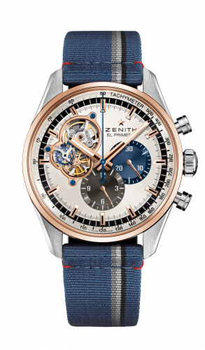 Zenith 51.2080.4061/69.C802 : El Primero Chronomaster Open Stainless Steel / Rose Gold / Silver 1969 / Fabric
