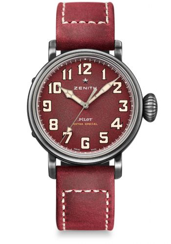 Zenith 11.1940.679/94.C814 : Pilot Type 20 Extra Special 40 Aged Stainless Steel / Burgundy