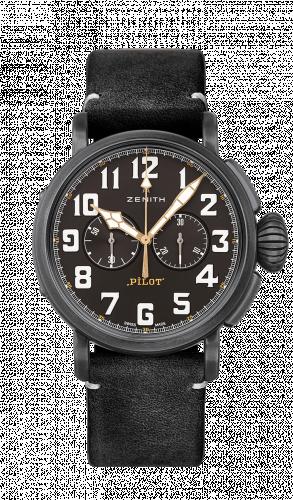 Zenith 11.2432.4069/21.C900 : Pilot Type 20 Ton-Up Chronograph Aged Steel / Black